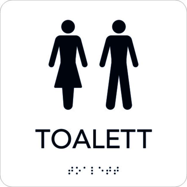 Attraktiva Taktil Skylt Toalett, vit med svart text - Stämplar, trycksaker KP-08