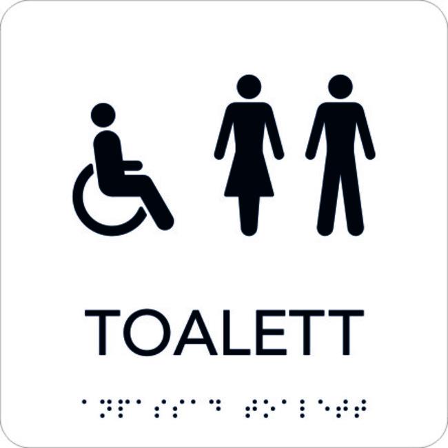 Populära Taktil Skylt Rullsto/Toalett, vit med svart text - Stämplar JU-37